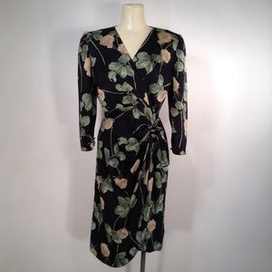 Vintage 80's Pauline Trigere Silk Dress Medium